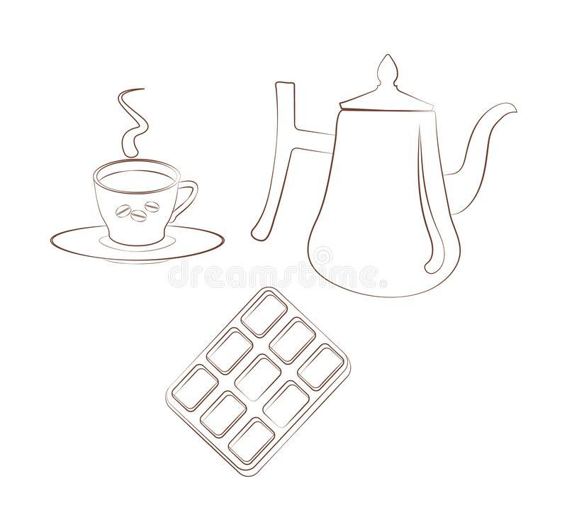 Set for breakfest a cup of coffee with a saucer, a coffee pot and chocolate on a white background. Contour emblem vector illustration