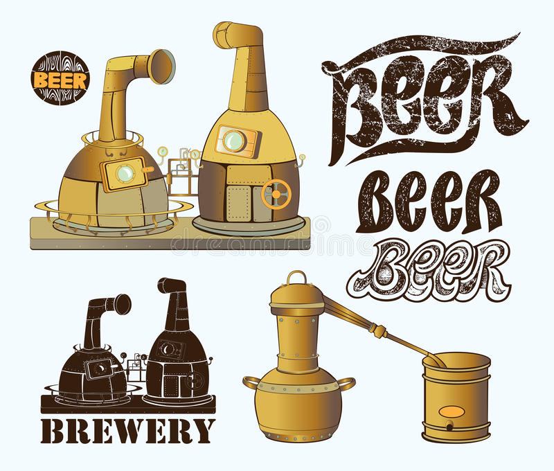 Set for brewery design. Set for brewery design with fermentation tanks, brewery and text who was written with chalk. Set for beer and brewery design vector illustration