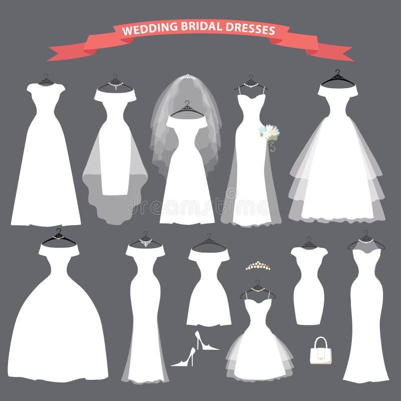 Set bridal ślubne suknie wiesza na faborkach ilustracji