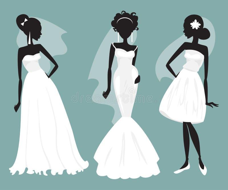 Set Brides In Various Wedding Dresses. Vector Illustration Stock ...