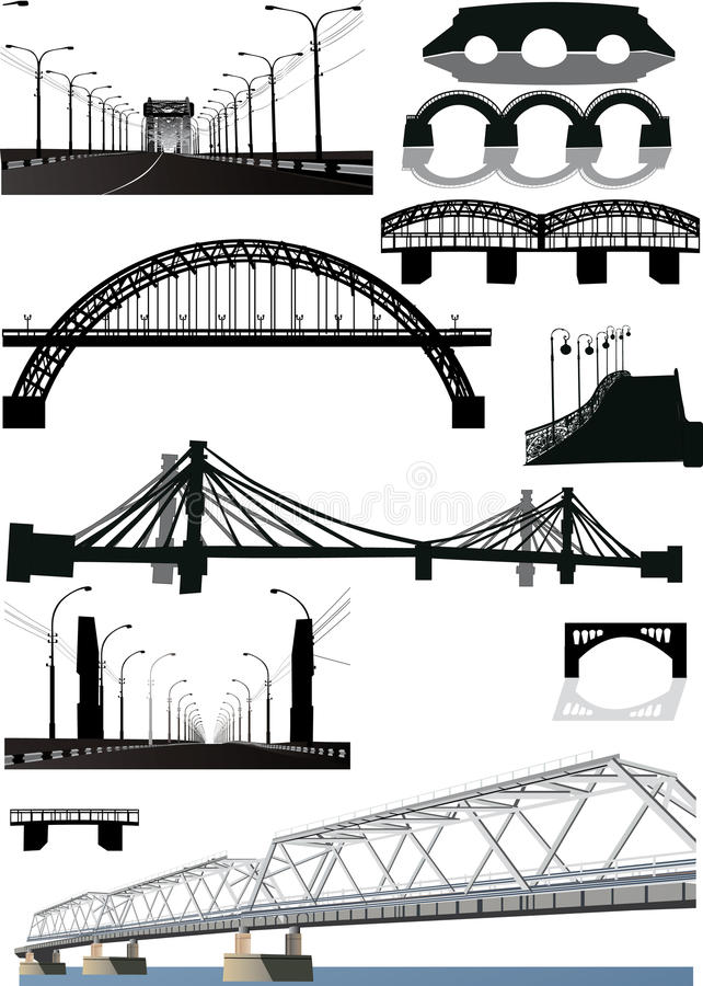 Set of bridge silhouettes vector illustration