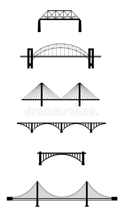 Set of bridge silhouettes royalty free illustration