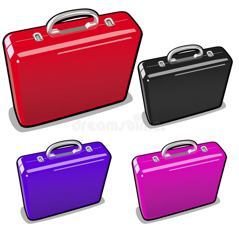 A set of briefcases in different colors isolated on a white background. Vector illustration. royalty free illustration