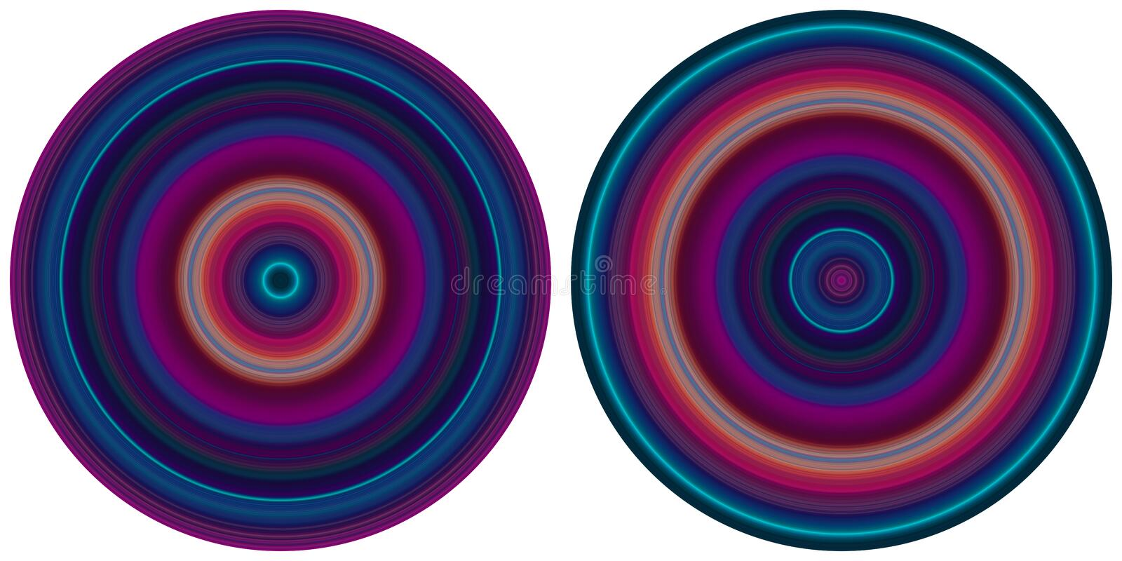 Set of 2 bright abstract  bright radial striped circles in purple and blue tones isolated on white background. Texture with circular lines. Vivid round pattern royalty free illustration