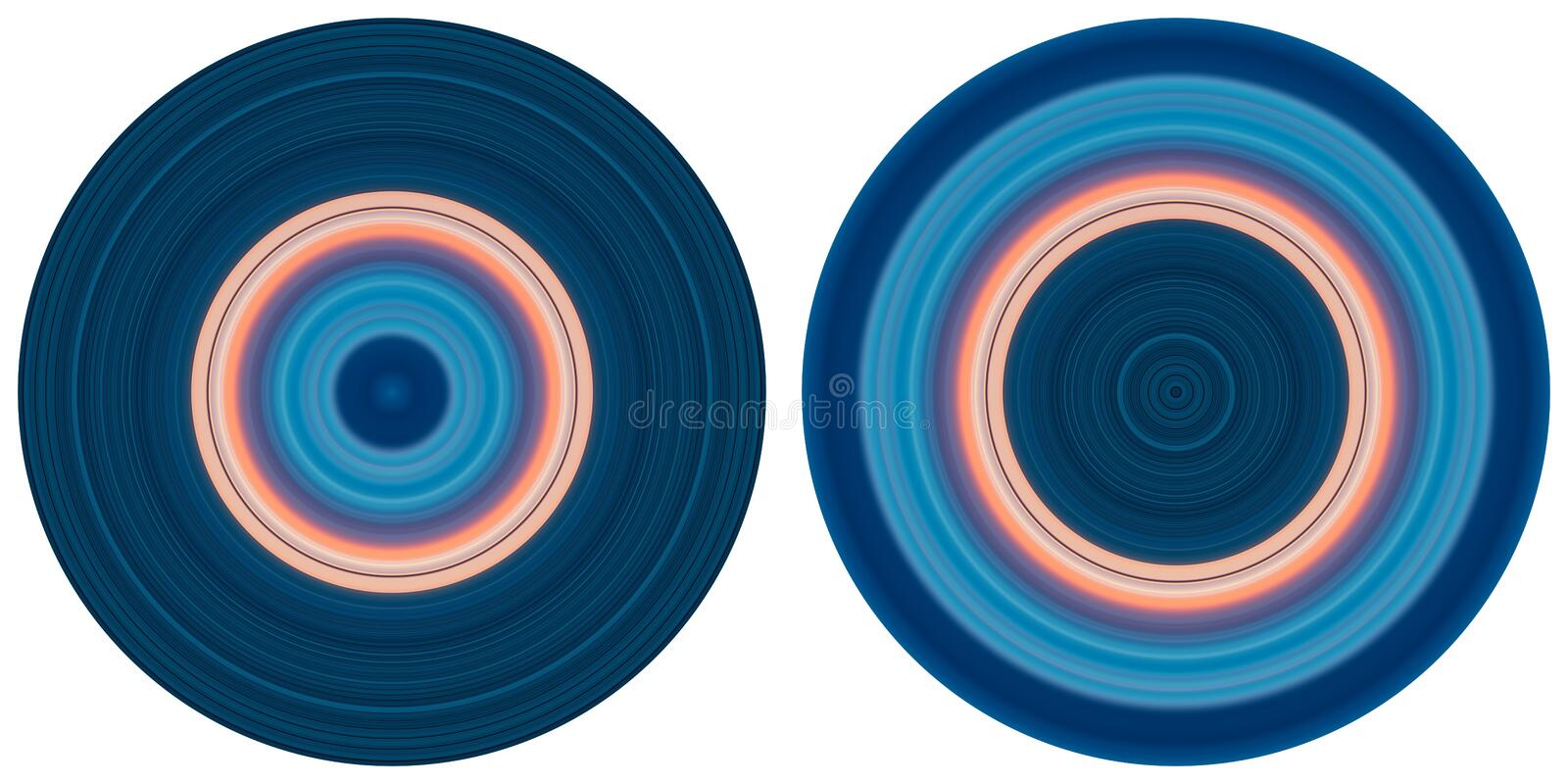 Set of 2 bright abstract colorful circles isolated on white background. Circular lines , radial striped texture in pink and blue t royalty free illustration