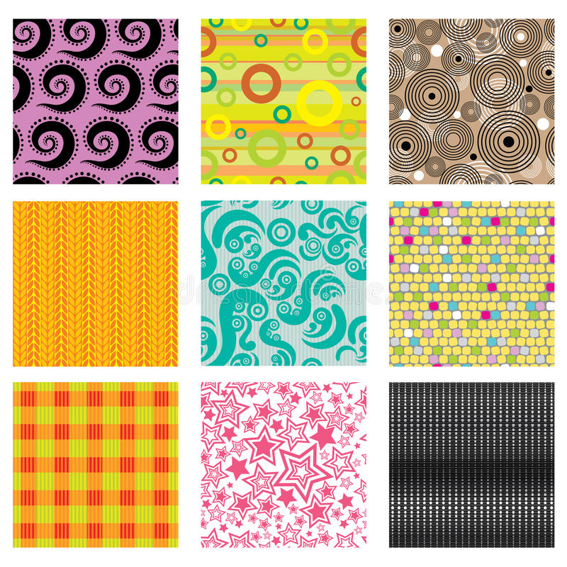 Set of bright abstract patterns royalty free illustration