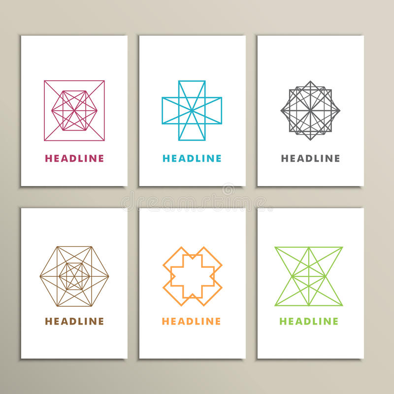 Set bright abstract shapes on a white background vector illustration