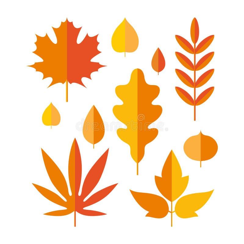 Set of bright autumn leaves in flat style. Stylized leaves of maple, Rowan, oak, birch, aspen, Linden. Autumn seasonal. Set of bright autumn leaves in flat style royalty free illustration