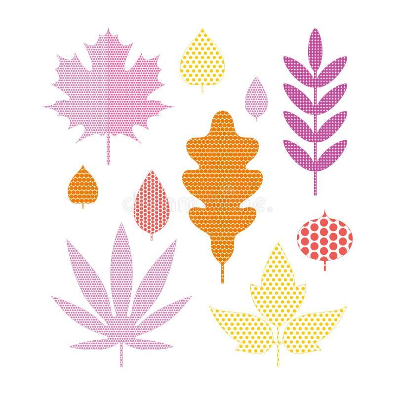 Set of bright autumn leaves in flat style. Stylized leaves of maple, Rowan, oak, birch, aspen, Linden. Autumn seasonal. Set of bright autumn leaves in flat style vector illustration