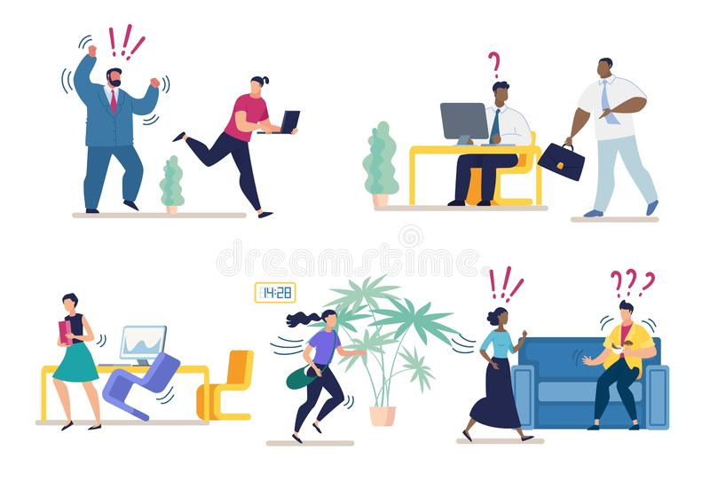 Set Bright Banner Misunderstanding at Work Flat. Modern and Comfortable Space. Aggressive Boss Drives Office Subordinates. Difficulty Communicating in stock illustration