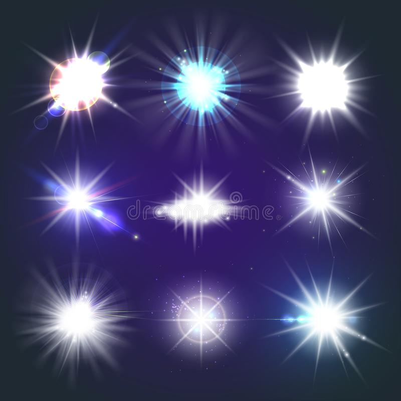 Set of bright beautiful stars. Optical lens glowing flashlight effect. Light effect, bright star, light flare. Colorful sparkles. Shine light effect on stock illustration