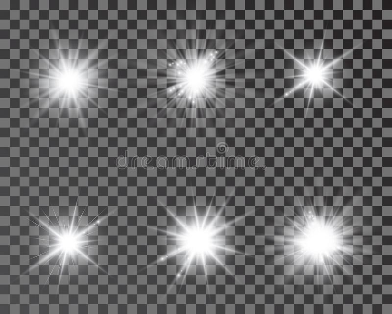 Set of bright beautiful stars. Optical lens glowing flashlight effect. Light effect, bright star, light flare vector illustration