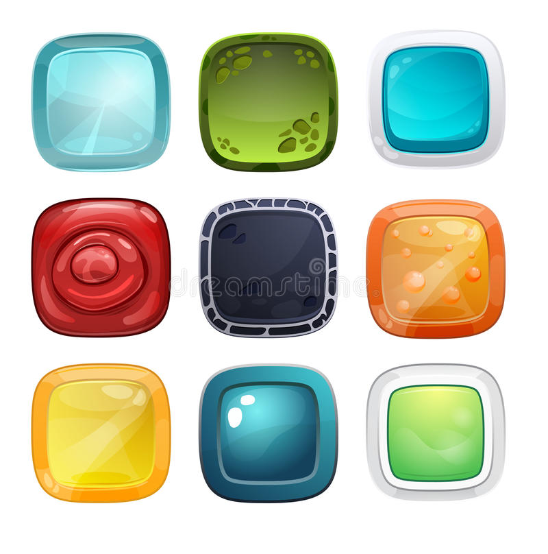 Set of bright buttons for game or web design vector illustration