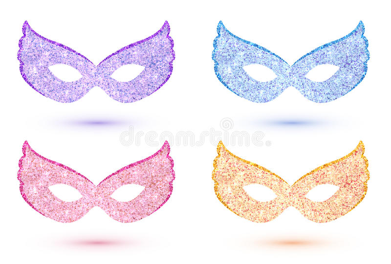 Set of bright carnival masks: pink, blue, violet and golden yellow stock illustration