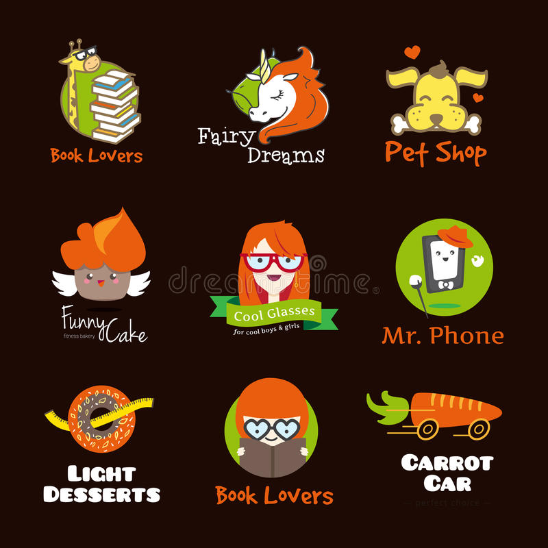 Set of bright cartoon style logos. vector illustration