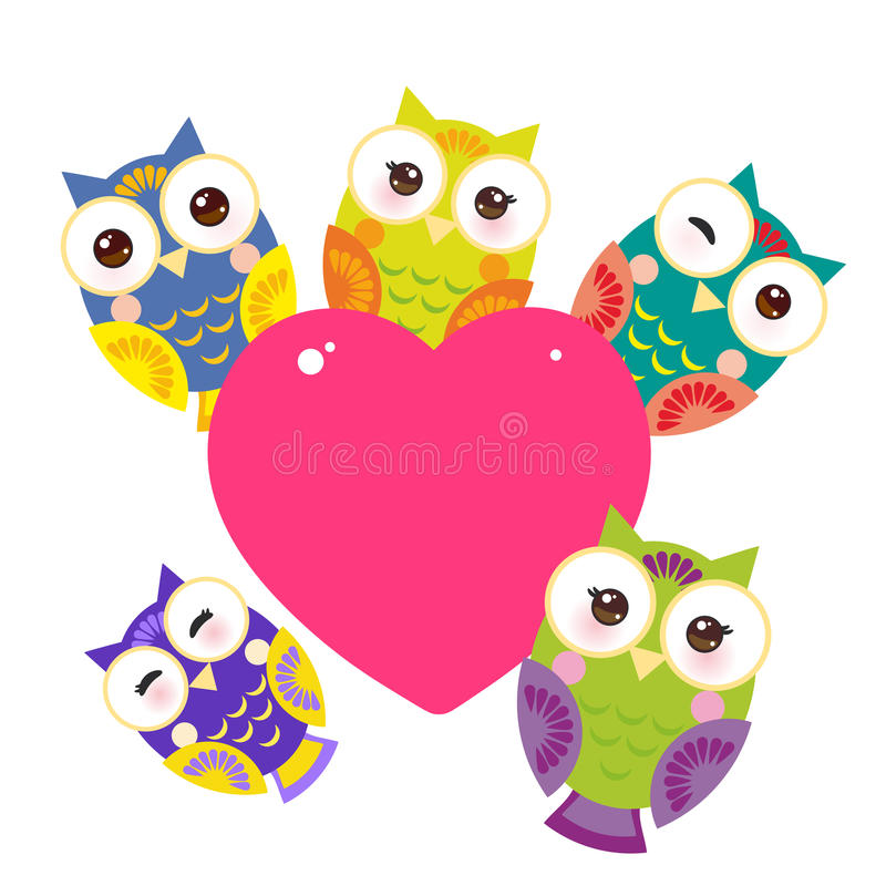 Set bright colorful owls Card design with a funny animal with pink heart on a white background. Vector royalty free illustration