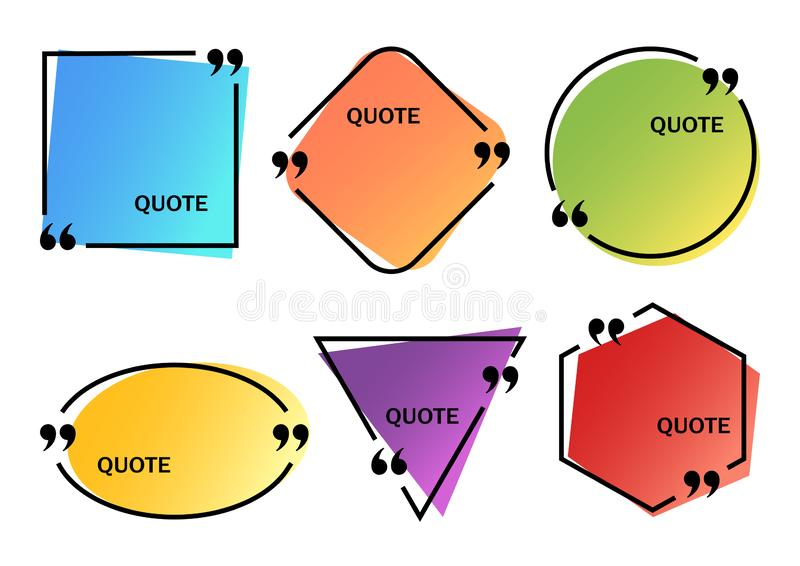 Set of bright colorful quote boxes different shapes, space for your text. Vector. Illustration royalty free illustration