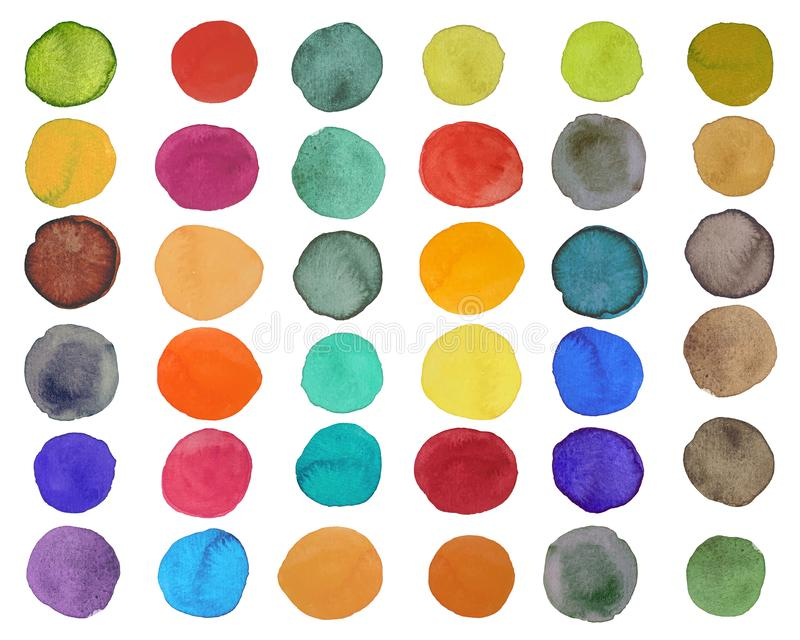 Set of bright colorful watercolor circle on white background. Set of colorful watercolor hand painted circle isolated on white stock illustration