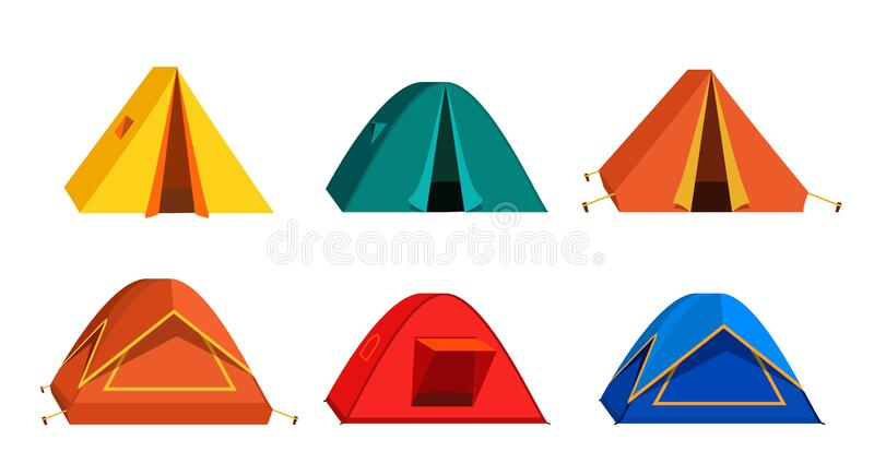 Set Bright colourful tourist tent icon. Isolated on white background. Collection Vector tent in flat style royalty free illustration