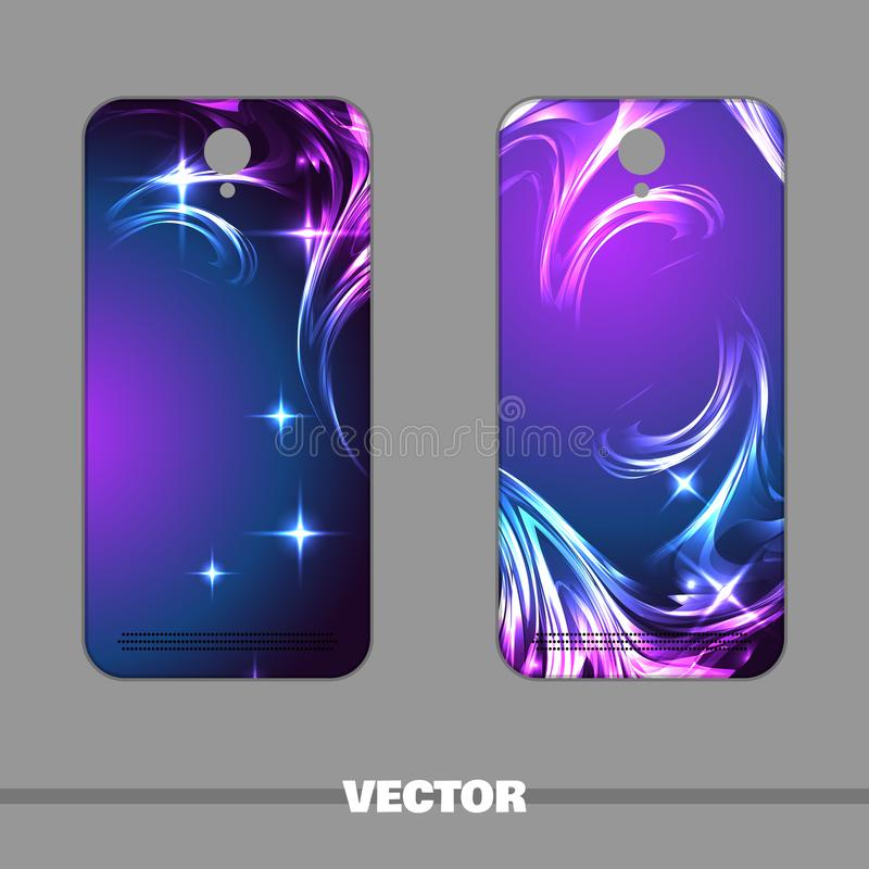 Phone Cover Night Star. Set of bright covers for mobile phone with magic pattern. Vector illustration royalty free illustration