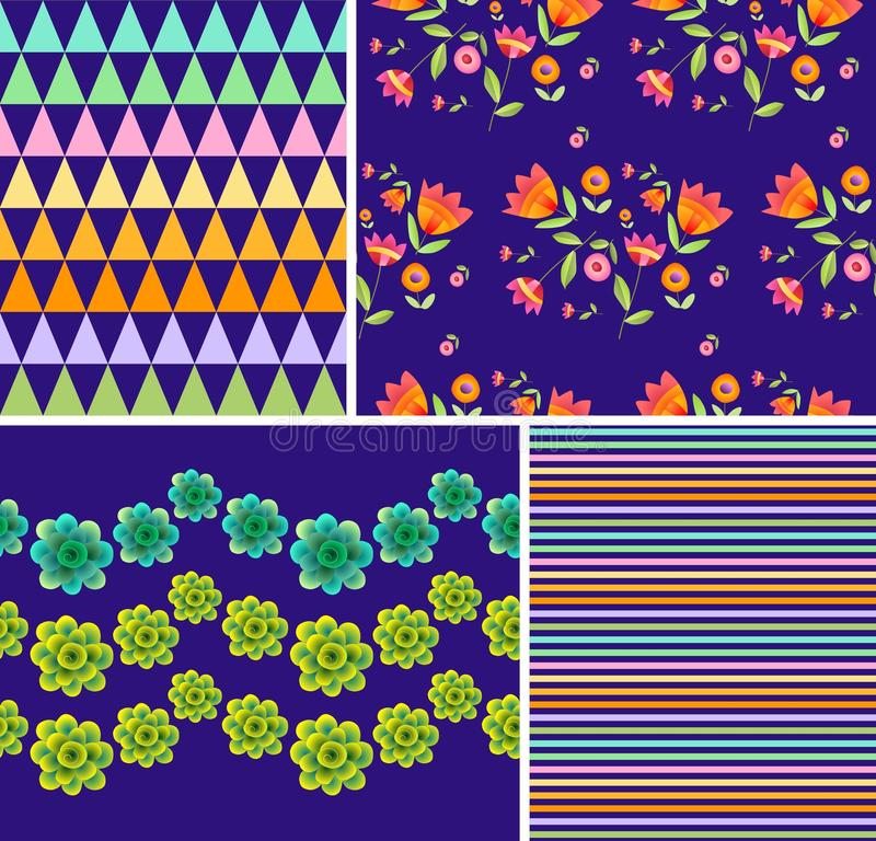 Set of bright floral and geometric patterns. Ornaments with beautiful flowers royalty free illustration