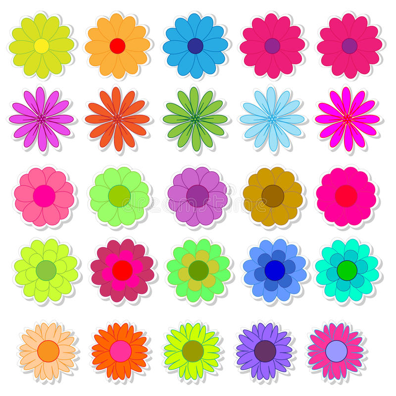 Set of bright flower stickers vector royalty free illustration