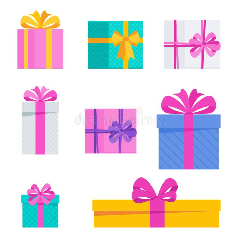 Set of bright fun holiday gift boxes. stock image