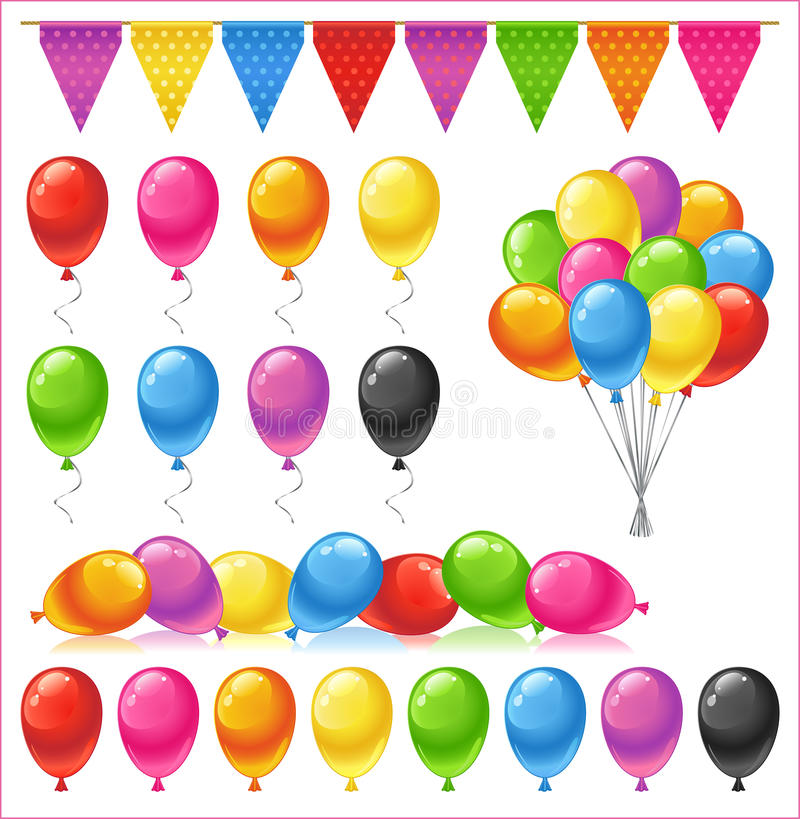 Set of bright glossy colored balloons royalty free stock photography