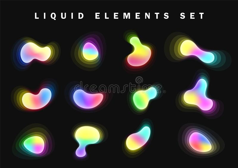 Set of bright glow gradient Liquid elements, design palette of shimmering colors. Futuristic abstract bright colorful vector illustration