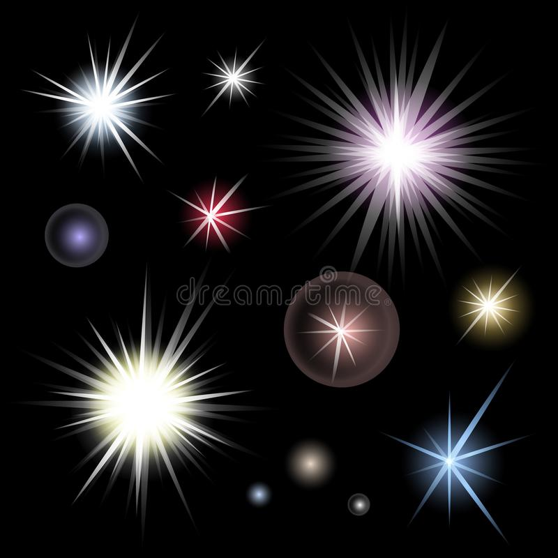 Set of bright glowing colorful stars burst on black background royalty free illustration