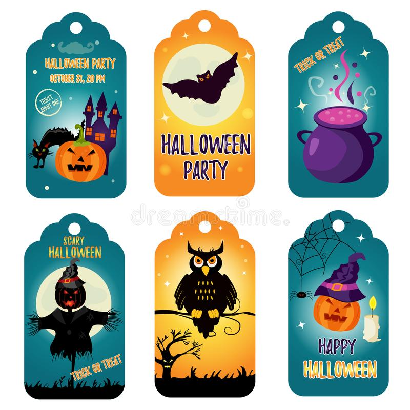 Set of bright Halloween tags with holiday characters vector illustration