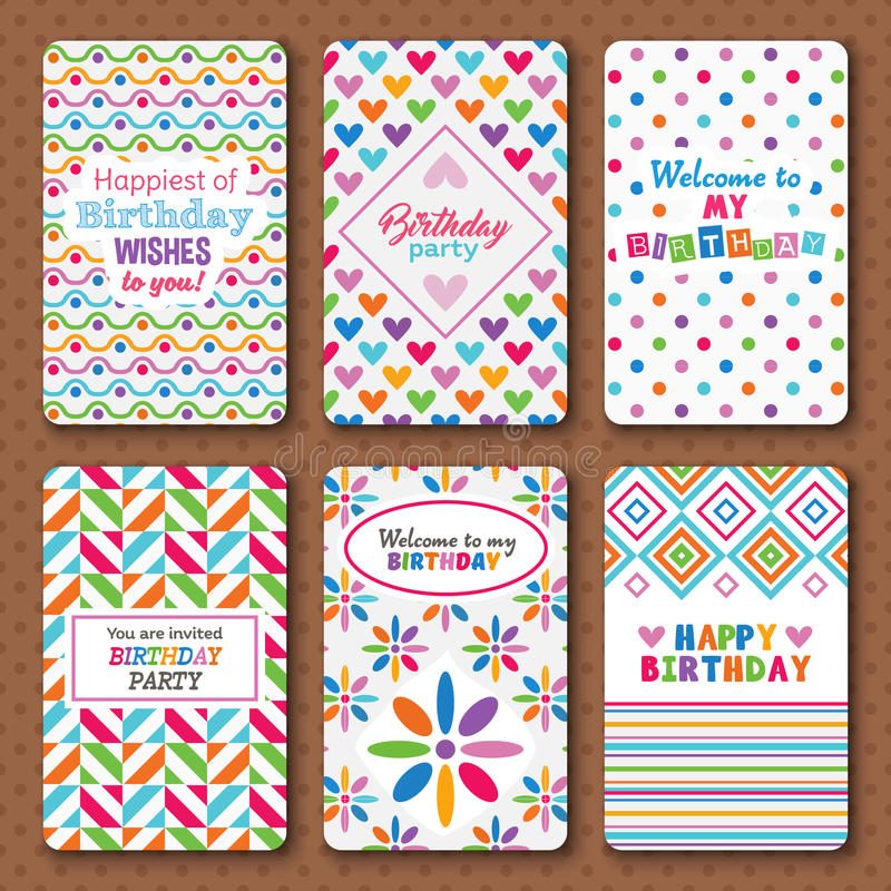 Set Of Bright Happy Birthday Invitation Cards Stock Vector ...