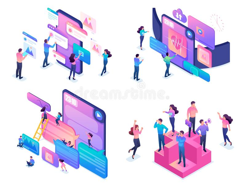 Isometric Creative Young People Using Device. Set of bright isometric concepts, creative young people, using modern devices vector illustration