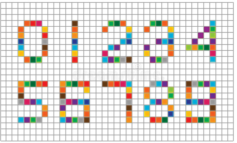 Set Of Bright Mosaic Numbers Stock Illustration  Illustration Of