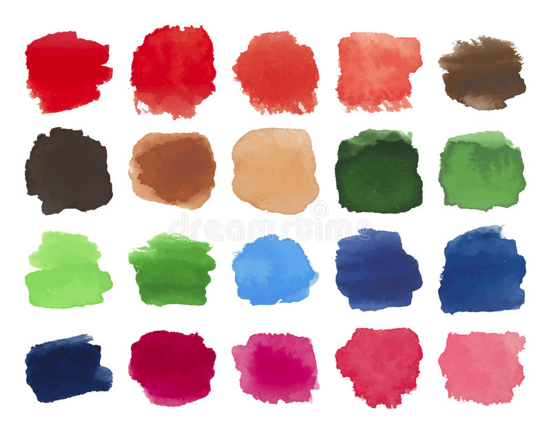 Set of bright multicolored watercolor stains royalty free illustration