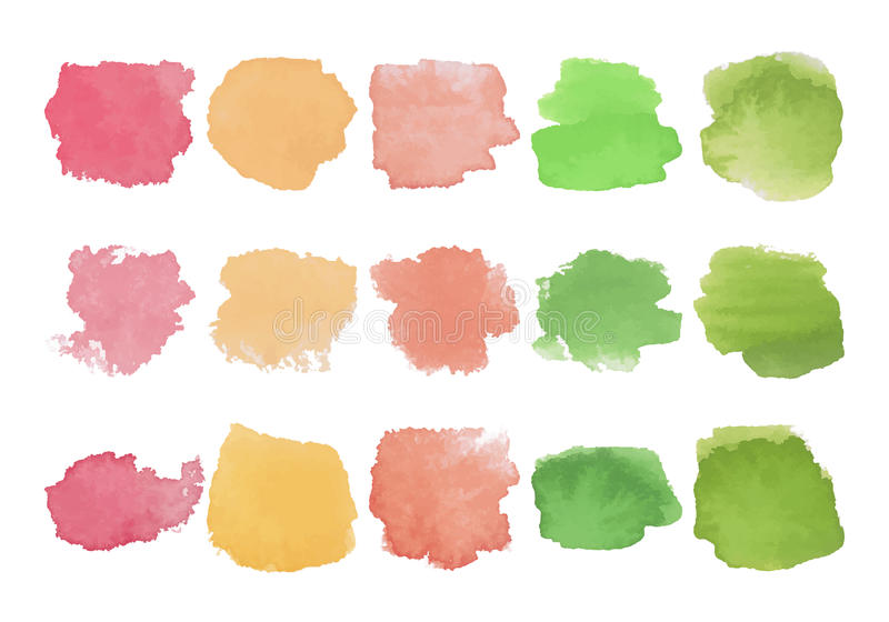 Set of bright multicolored watercolor stains stock illustration