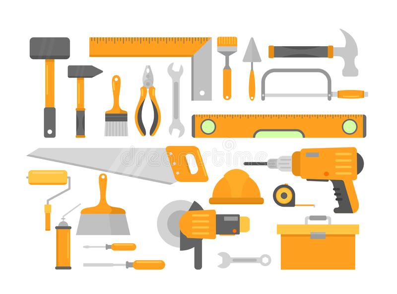 Set of bright orange building repair home construction tools isolated on white background. Brick hammer, level meter vector illustration