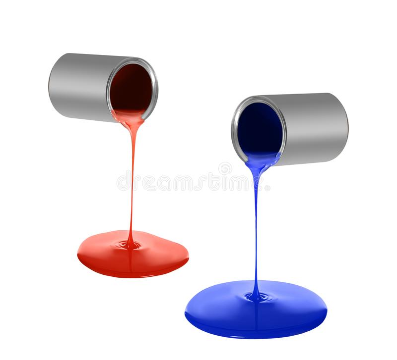 Set of bright paint pouring from silver metal cans stock images