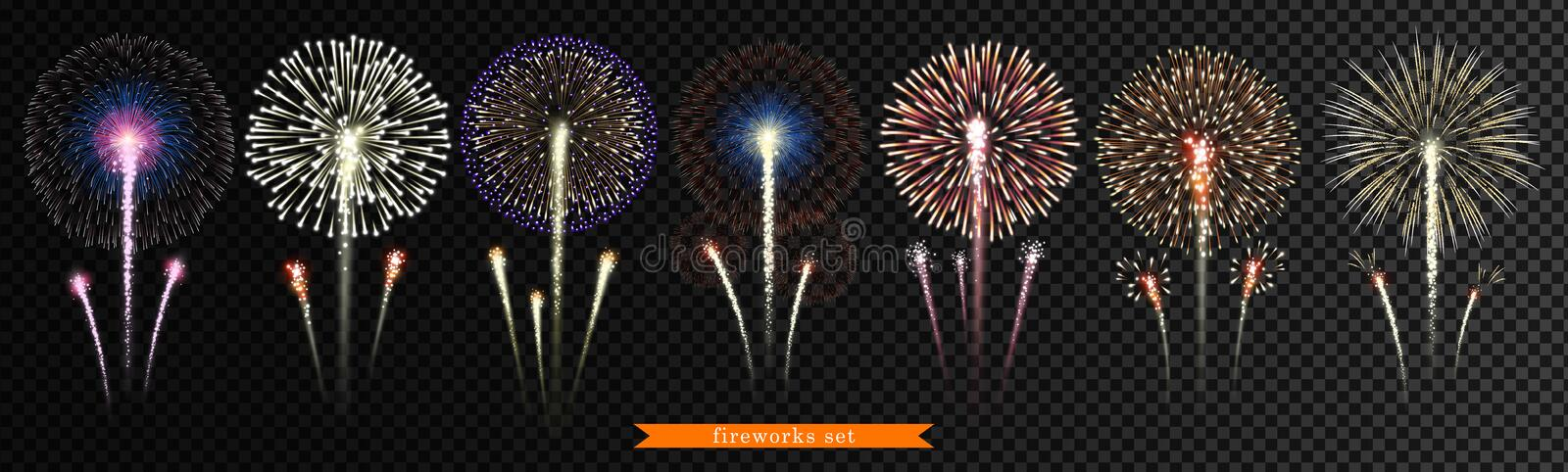 Set of bright, realistic fireworks on a transparent background. Vector stock illustration
