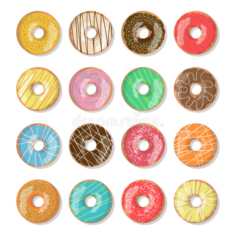 Set of 12 bright tasty vector donuts illustration on the white background. Doughnut icon in cartoon style for. Donuts menu in cafe and shop stock illustration