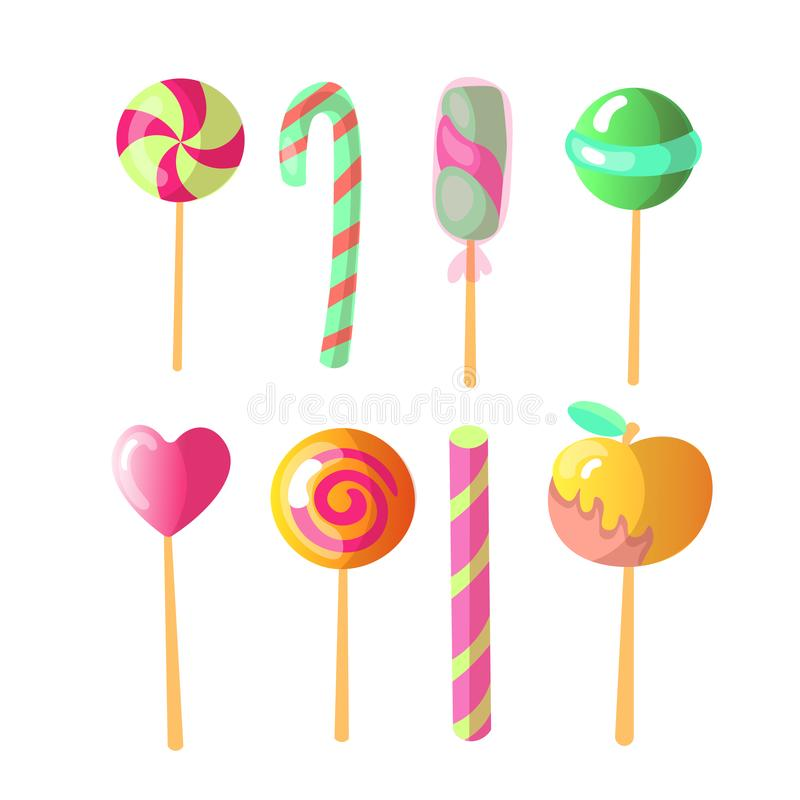 Set of bright vector candies. Set of colorful lollipops, cartoon illustration. Round and heart lollipop, caramelized royalty free illustration