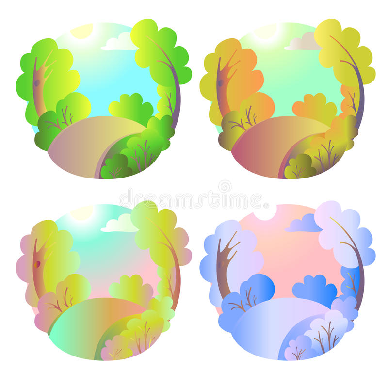 Set of bright vector natural backgrounds. Four seasons in nature - summer, winter, fall, spring. City park or vacation vector illustration