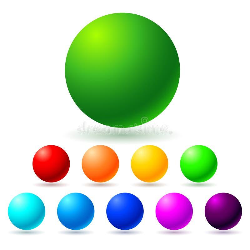 Set of brignt colored balls. Full spectrum royalty free illustration