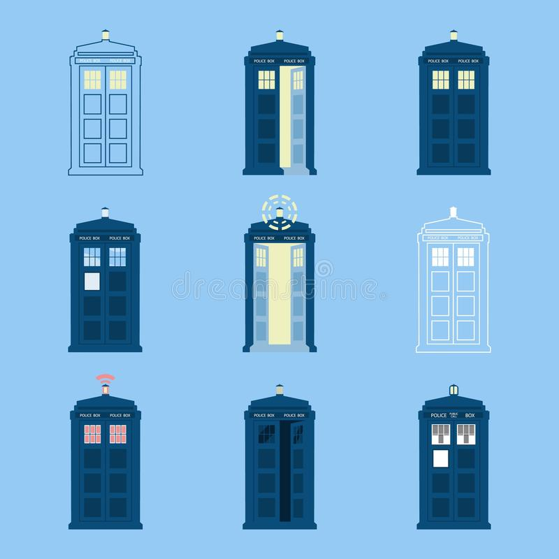 Set of British Police Boxes Icons telephone , in London and England for call public royalty free illustration