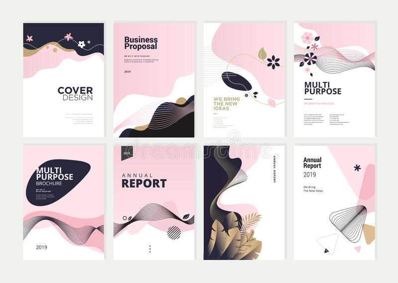 Set of brochure, annual report and cover design templates for beauty vector illustration