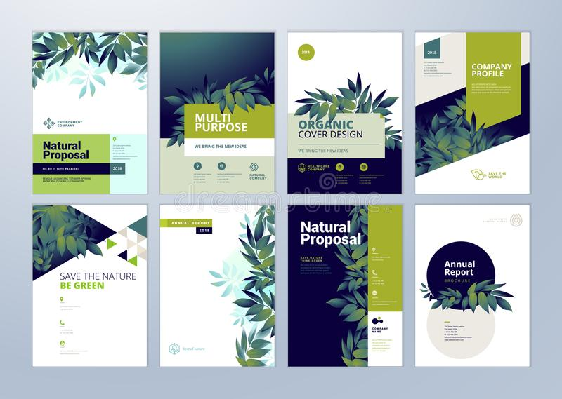 Set of brochure and annual report cover design templates on the subject of nature, environment and organic products stock illustration