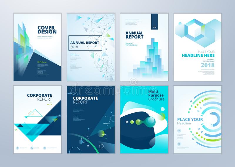 Set of brochure, annual report, flyer design templates in A4 size royalty free illustration