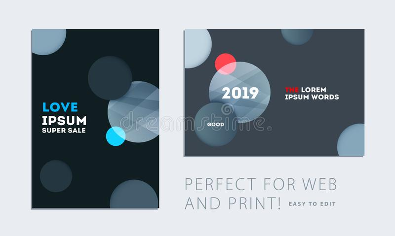 Set of brochure with black abstract design cover, party flyer in A4 with grey smooth round for club, celebration, anniversary vector illustration