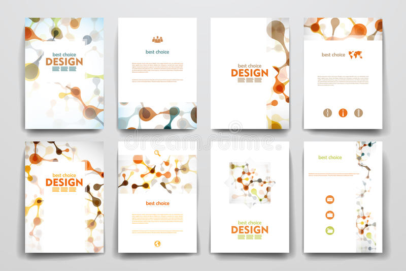 Set of brochure, poster design templates in DNA stock image