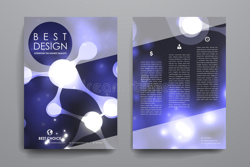 Set of brochure, poster design templates in neon molecule structure style vector illustration